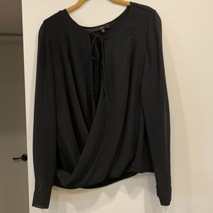 Fora black cross front blouse with tie